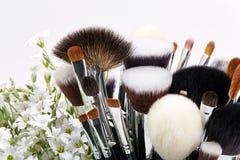 Sistema de cepillos del maquillaje con las flores pamplina Fondo blanco Fotos de archivo libres de regalías