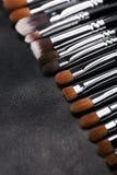 Sistema de cepillos del maquillaje en fondo de cuero negro Imagen de archivo