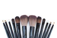 Sistema de cepillos para el artista de maquillaje profesional Fotografía de archivo