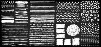 Sistema de cepillos pintados a mano del creyón de la tiza ilustración del vector