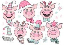 Sistema de cerdos lindos con emociones de la alegría y de la felicidad stock de ilustración