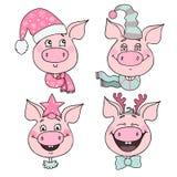 Sistema de cerdos lindos con emociones de la alegría y de la felicidad libre illustration