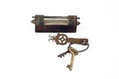 Sistema de cerraduras viejas en el fondo blanco Fotos de archivo libres de regalías