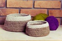 Sistema de cestas hechas punto Fotos de archivo