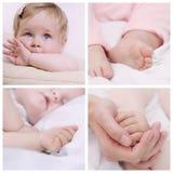 Sistema de cierre encima de la parte del pequeño cuerpo lindo del bebé Imagen de archivo