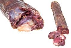 Sistema de cierre kazy de la salchicha de la carne del caballo para arriba aislado Fotografía de archivo libre de regalías