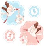 Sistema de cigüeñas y de bebés ilustración del vector