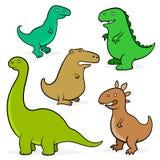 Sistema de cinco dinosaurios de la historieta para los niños libre illustration