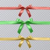 Sistema de cinta realista y de arcos rojos del vector, verdes y amarillos en fondo transparente Vector EPS 10 ilustración del vector