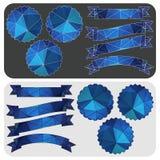 Sistema de cintas azules y emblemas del modelo poligonal Vector Fotos de archivo