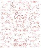 Sistema de cintas de la tarjeta del día de San Valentín Imagen de archivo