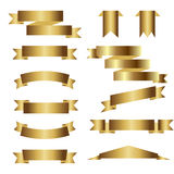 Sistema de cintas de oro en el fondo blanco Ilustración del vector Foto de archivo