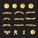 Sistema de cintas del lujo del oro ilustración del vector