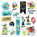 Sistema de cintas dibujadas mano de la acuarela y etiquetas engomadas del verano libre illustration
