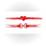 Sistema de cintas rojas de la acuarela Imagen de archivo libre de regalías