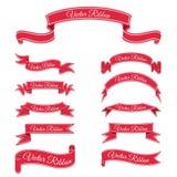 Sistema de cintas rojas de la bandera del vector Fotos de archivo