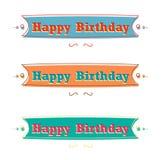 Sistema de cintas, tarjeta del feliz cumpleaños de felicitación Fotos de archivo