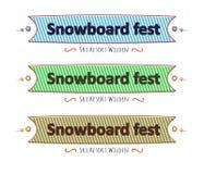 Sistema de cintas, tarjeta del festival de la snowboard de felicitación, plana Fotografía de archivo