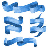 Sistema de cintas y de banderas azules de la acuarela Ilustración del vector Fotografía de archivo libre de regalías