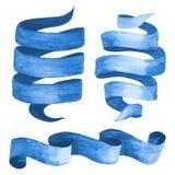 Sistema de cintas y de banderas azules de la acuarela Ilustración del vector Imagen de archivo