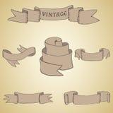 Sistema de cintas y de banderas del vintage Foto de archivo