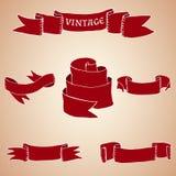 Sistema de cintas y de banderas del vintage Fotografía de archivo libre de regalías