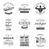 Sistema de citas tipográficas de la motivación del vintage Fotografía de archivo