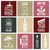 Sistema de citas tipográficas del vino del vintage Foto de archivo