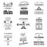 Sistema de citas tipográficas que acampan del vintage Fotos de archivo