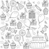 Sistema de Clipart del bosquejo de la historieta de la fiesta de cumpleaños Fotos de archivo