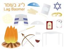 Sistema de cliparts judíos del icono de Omer del ` de los vagos del retraso del día de fiesta stock de ilustración
