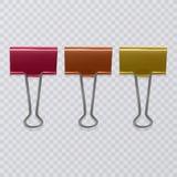 Sistema de clips realistas del documento aislados en el fondo blanco stock de ilustración