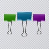 Sistema de clips realistas del documento aislados en el fondo blanco ilustración del vector