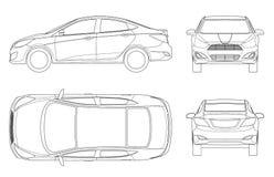 Sistema de coches del sedán en esquema Vehículo híbrido compacto Auto de alta tecnología respetuoso del medio ambiente Coche aisl ilustración del vector