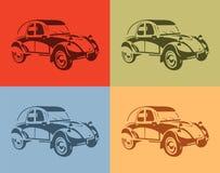 Sistema de coches elegantes del vintage de la imagen del vector cuatro colores Imagen de archivo