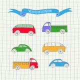 Sistema de coches lindos del vector Imágenes de archivo libres de regalías