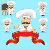 Sistema de cocineros en diversas actitudes, con diversos objetos para hacer publicidad y para la animación Fotos de archivo