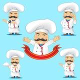 Sistema de cocineros en diversas actitudes, con los objetos para hacer publicidad y la animación Imágenes de archivo libres de regalías