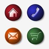 Sistema de color de botones redondos del web Foto de archivo libre de regalías