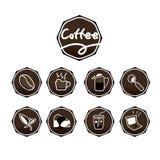 Sistema de color de Brown de los iconos del café Imagenes de archivo