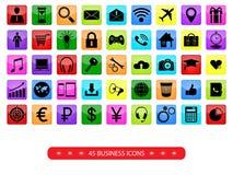 Sistema de color de iconos del negocio ilustración del vector