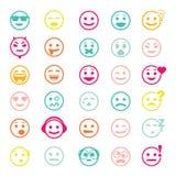 Sistema de color de iconos del vector con las caras sonrientes Fotos de archivo libres de regalías