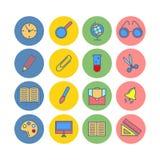 Sistema de color de iconos planos De nuevo a escuela Fuentes de escuela Fotos de archivo