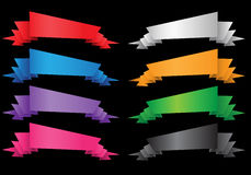 Sistema de color de la cinta de la etiqueta de la bandera del vector en negro Imagen de archivo libre de regalías