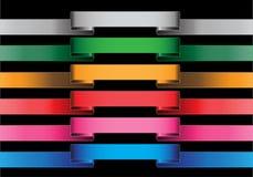 Sistema de color de la cinta de la etiqueta de la bandera del vector en negro Fotografía de archivo libre de regalías