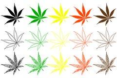 Sistema de color de la hoja de la marijuana stock de ilustración