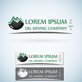 Sistema de color de la plantilla del diseño del logotipo del vector de la compañía de gas del aceite encienda el descenso del ace Fotos de archivo
