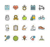 Sistema de color del icono de la aptitud de la salud Vector libre illustration