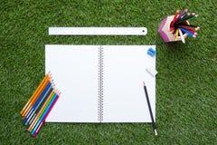 Sistema de color del lápiz en hierba verde Foto de archivo libre de regalías