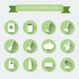 Sistema de color plano del vector de iconos Limpieza y lavadero de la casa Vect Foto de archivo libre de regalías